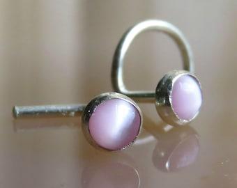 tiny pink nose stud, 3mm Cats Eye nose stud, nose screw - 20 18 16 Gauge nose studs