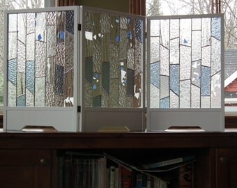 Decorative screen with stained glass (3 panels, each panel 12 '' wide x 18 '' height)