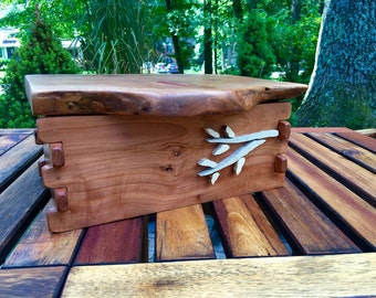 Primitive Rustic Apple Wood Box with Holly Hinge and Intarsia