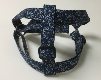 Adjustable Blue Bandana/Paisley Print Step-In Harness