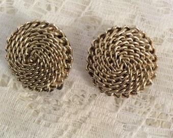 Vintage goldtone clip-on earrings made in Japan