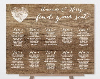 Rustic Wedding Seating Chart Sign / Rustic Wood Sign, White Calligraphy / Custom Seating Sign ▷ Printable File {or} Printed & Shipped