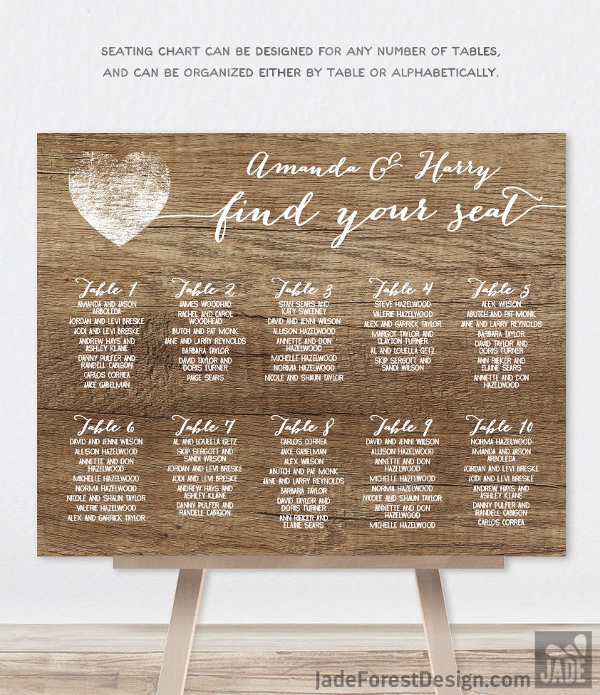 Rustic Wedding Seating Chart Ideas: Rustic Wedding Seating Chart Sign / Rustic Wood Sign White