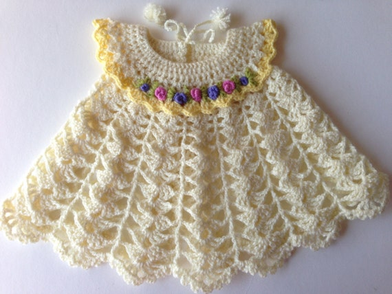 Cream Crochet Baby Dress Lace Crochet Baby Dress Lacy Baby