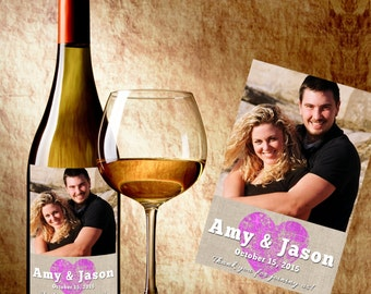 Rustic Heart Photo Wine Label - Personalized Wine Label with Photo - Wedding Wine Bottle Labels - Photo Wine Labels - Burlap Wine Labels