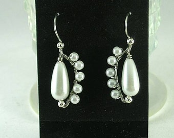 Wire wrapped Teardrop Pearl Earrings