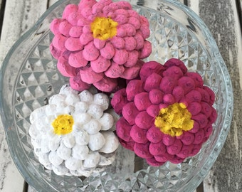 Zinnia painted pinecones, flowers, zinnia, Valentines day decor, pretty in pink, painted flowers,  pink flowers, white flowers