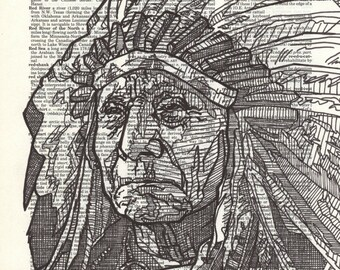 Redcloud Portrait on a Dictionary Page
