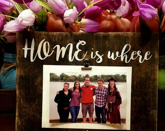 "Mother's Day Picture Frame, ""Home is where your Mom is"", Mom gift, family picture frame, mom birthday gift"