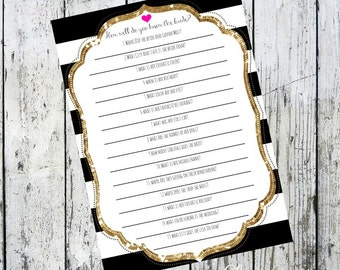 How Well do you know the Bride Bridal Shower Game*Digital Listing*-Kate Spade Inspired