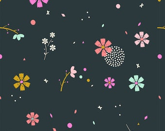 Dark Green Floral Print Cotton Fabric, Quilting and Patchwork Fabric - Fat Quarter