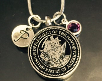 "Cremation Jewelry ""navy"" Pendant Keepsake Urn Necklace with FREE 20"" Chain & Fill Kit Choose Initial and Birthstone"