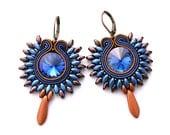 Soutache earrings, blue brown earrings, casual jewelry, bohemian jewelry, soutache jewelry, orecchini soutache, soutache boucles d'oreilles