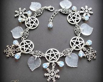 Opalite Winter Solstice Charm Bracelet, Pentagram Bracelet, Snowflake Charm Bracelet, White & Silver Bracelet, Wiccan Bracelet, Wicca, Pagan