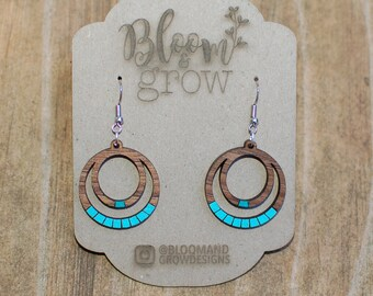 Wooden Earrings - Double Circle - lines - Turquoise