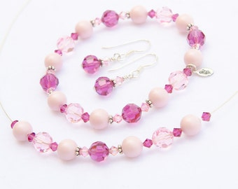 Fuchsia Bridesmaid Jewelry Set Pink Crystal and Pearl Jewelry Set Pearl Hot Pink 2 Piece Bali Sterling Silver Pink Bridesmaid Gift