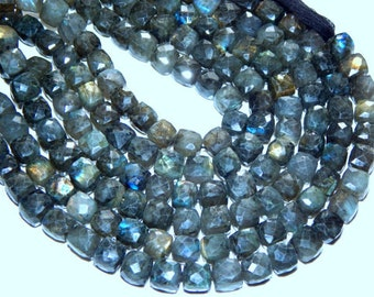 """Labradorite Faceted 3D Cube Beads 1. Strand 9""""Inches 8.2x9 mm Approx Wholesale Price 100% Natural Top Quality  New Arrival"""