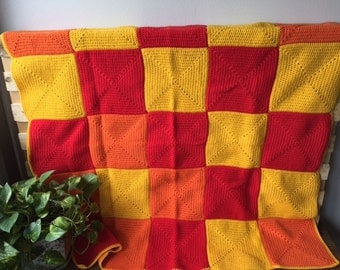 Handmade Crochet Blanket,Throw Afghan, lounge gift, bedding gift, Red Orange Yellow, warm, patchwork, housewarming gift, Etsy Australia