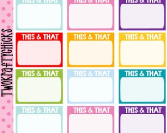 NEW This & That Box Personal Planner Sticker