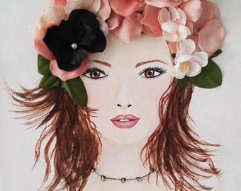 Girl Portrait - Mixed Media - Original Collage Art - Flowers on Canvas- 11 X 14 inches