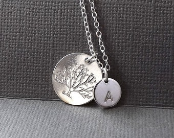 Family Tree Necklace Silver Personalized Necklace Custom Tree Pendant, Hand Stamped Initial Tree of Life, Mom Gift Women Jewelry gift