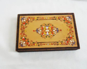 Vintage Jewelry box, Hand Carved and Painted Pencil Case, Colorful Pyrography Wooden Box, Memory Box, Folk Art Woodwork