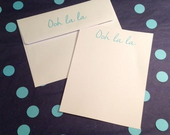 Thank You Note/Ooh La La Flat Cards and Envelopes - Blue and White - Set of 8