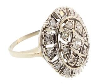 Edwardian 14K White Gold & Diamond Ring