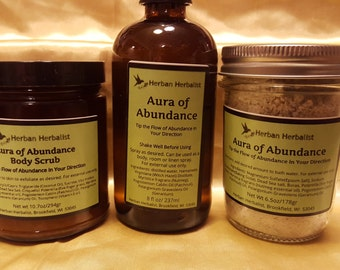 Aura of Abundance Bath Salts, attraction bath salts, relaxing bath salts, all natural bath salts, handmade bath salts
