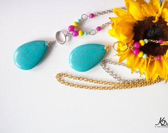 Long Turquoise Pendant Necklace - Summery with Bright colourful beads on a long chain