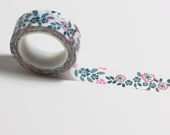 Washi tape flowers pink