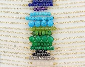 Gemstone Bar Necklace, Birthstone Gemstone Necklace, Colored Gemstone Bar, Gemstone Layering Necklace, Medium Gemstone Bead Necklace, LC200