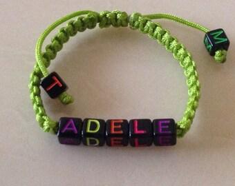 Macramé bracelet, green bracelet,  gift for kids,  personalized bracelet,  gift for her, baby bracelet,  gift for him,  name bracelet