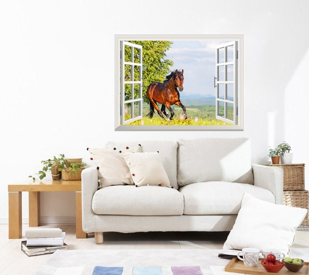 Wall Mural Brown Horse Running on the Meadow 24 x