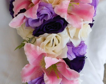 Silk Cascade bridal bouquet 2 pc made of Stargazer and lavender purple and ivory roses