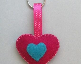 Heart Keyring/Keychain/Keyfob, Party Favor, Stocking Filler