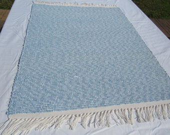 Loomed Rag Rug CP60 Blue, White, 35x25  Shipping Included
