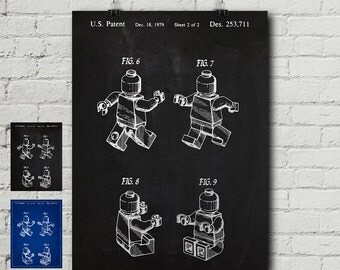Lego 1 Patent Request Print - Lego Minifigures, Toy, Bricks, Lego Movie, Lego Kits, Games, Blueprint, Wall Decor, Wall art, Cool Gift!