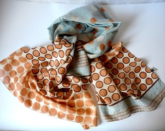 SENAS Scarf, Long Scarf, Geometric Print, Cotton and Silk, Vintage Scarf