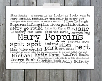 Mary Poppins Word Art Typography Art Print A4