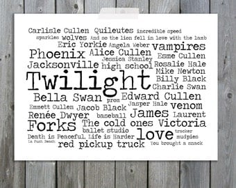 Twilight Word Art Typography Art Print A4