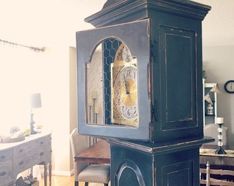 SOLD***Distressed Grandfather Clock with Chicken Wire