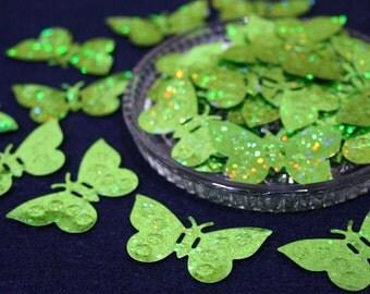 Green Glitter Butterfly Sequins