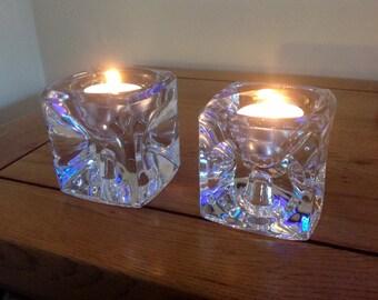 Vintage 1960s Sklo Union Czech Glass Cube Candle Holders - Rudolf Jurnik