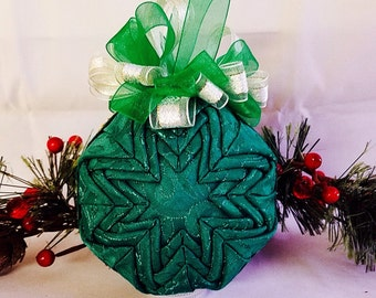 Christmas Quilted Keepsake Fabric Ornament - Christmas Green