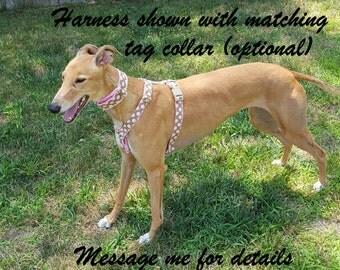 Greyhound Harness, Pink Polka Dot Fabric Covered Harness, Adjustable Harness, 1 Inch Dog Harness, Fabric Dog Harness, Greyhound Harness