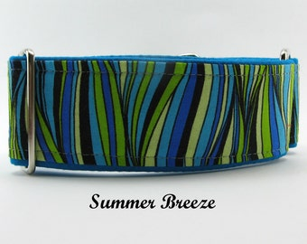 Blue Striped Martingale, Blue Striped Dog Collar, Greyhound Martingale, Lined Whippet Collar, Big Dog Collar, Small Dog Martingale Collar