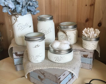6 Piece Distressed Mason Jar Bathroom Set Unique and Rustic Bright White Color Cottage Shabby Chic Farmhouse Wedding House warming gift