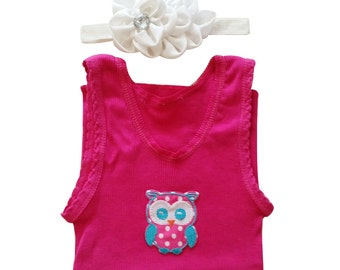 Baby singlet, baby girl singlet, owl singlet, baby girl headband set, singlet set, birthday outfit, owl shirt, baby set, baby party outfit