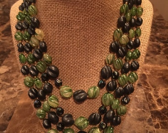 "Vintage Green and Black Beaded mutli strand necklace 19"" adjustable"
